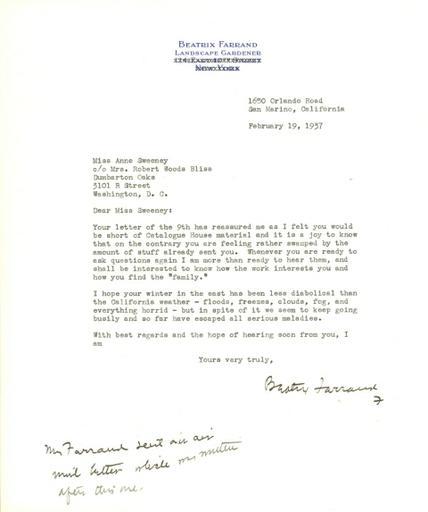 Beatrix Farrand to Anne Sweeney, February 19, 1937
