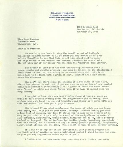 Beatrix Farrand to Anne Sweeney, February 25, 1937