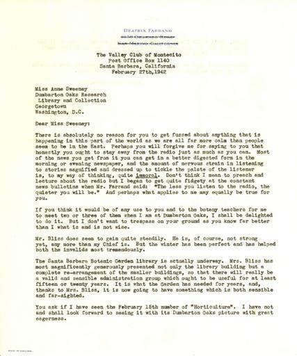 Beatrix Farrand to Anne Sweeney, February 27, 1942