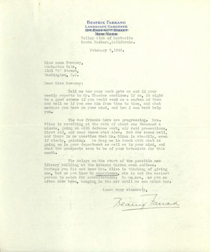 Beatrix Farrand to Anne Sweeney, February 7, 1942