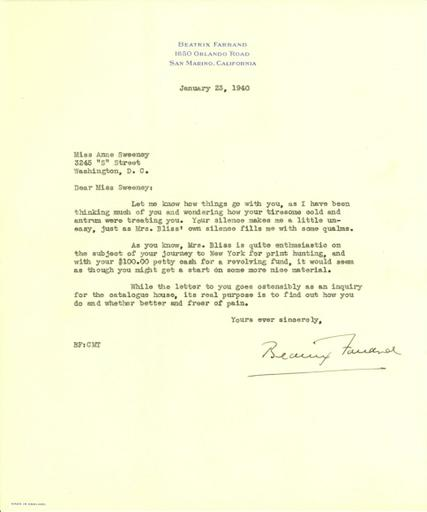 Beatrix Farrand to Anne Sweeney, January 23, 1940