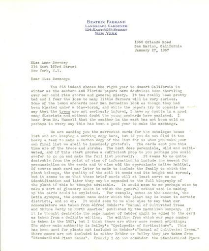 Beatrix Farrand to Anne Sweeney, January 27, 1937