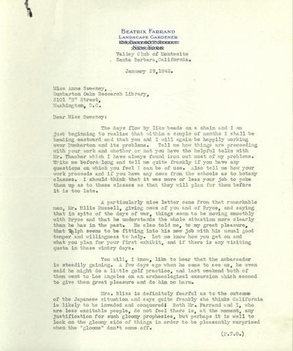 Beatrix Farrand to Anne Sweeney, January 29, 1942