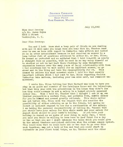 Beatrix Farrand to Anne Sweeney, July 12, 1941