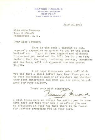 Beatrix Farrand to Anne Sweeney, July 20, 1942