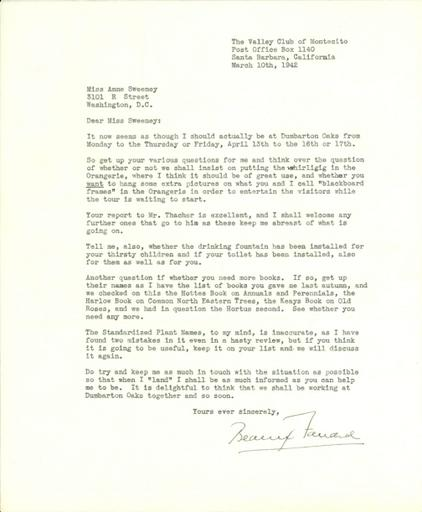 Beatrix Farrand to Anne Sweeney, March 10, 1942