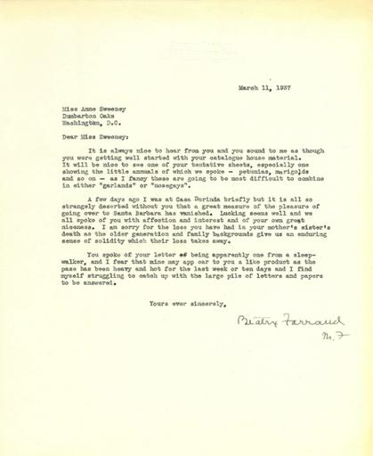 Beatrix Farrand to Anne Sweeney, March 11, 1937