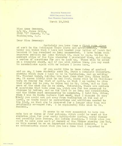 Beatrix Farrand to Anne Sweeney, March 19, 1941