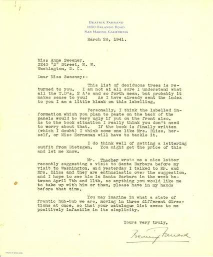 Beatrix Farrand to Anne Sweeney, March 26, 1941