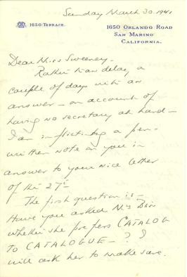 Beatrix Farrand to Anne Sweeney, March 30, 1941