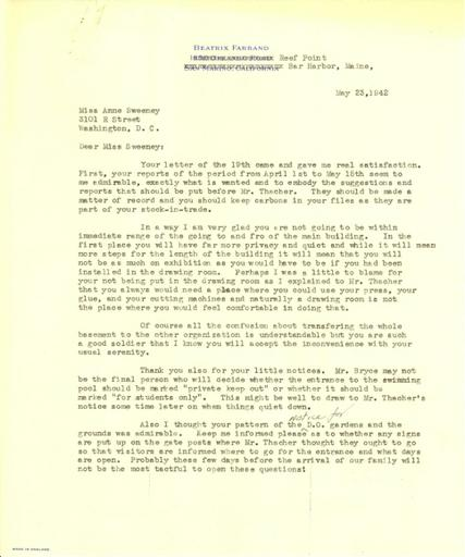 Beatrix Farrand to Anne Sweeney, May 23, 1942