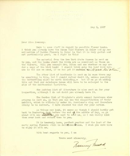 Beatrix Farrand to Anne Sweeney, May 3, 1937