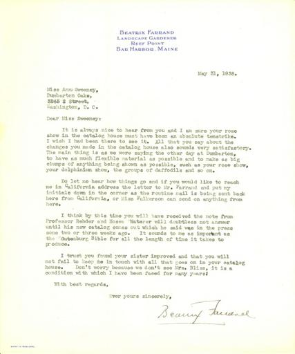 Beatrix Farrand to Anne Sweeney, May 31, 1938