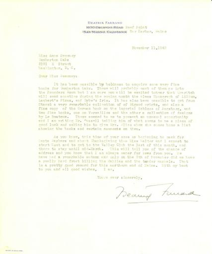 Beatrix Farrand to Anne Sweeney, November 11, 1949
