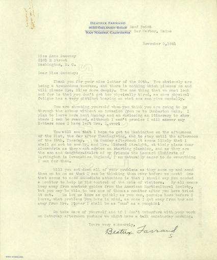 Beatrix Farrand to Anne Sweeney, November 3, 1941