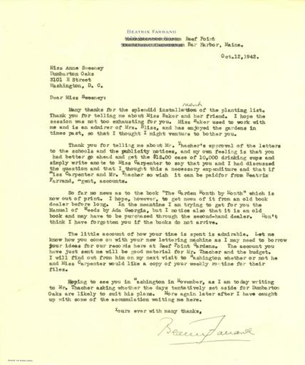 Beatrix Farrand to Anne Sweeney, October 12, 1942