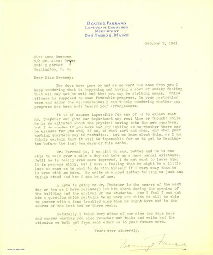 Beatrix Farrand to Anne Sweeney, October 2, 1941