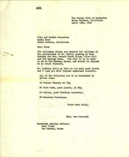 Beatrix Farrand to City and Kentia Nurseries, April 13, 1942