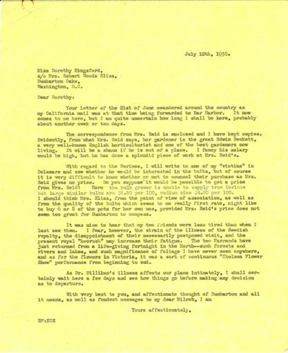 Beatrix Farrand to Dorothy Kingsford, July 12, 1938