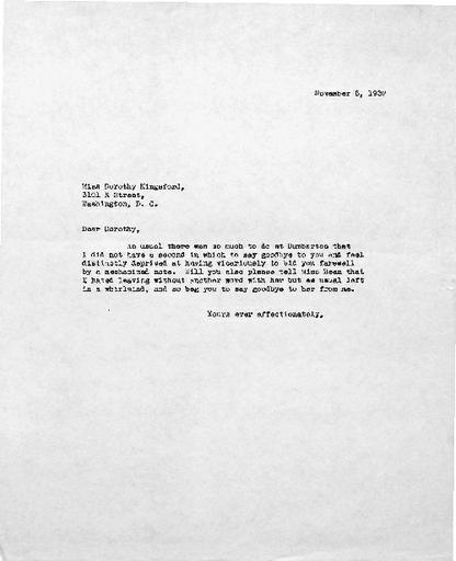 Beatrix Farrand to Dorothy Kingsford, November 5, 1937