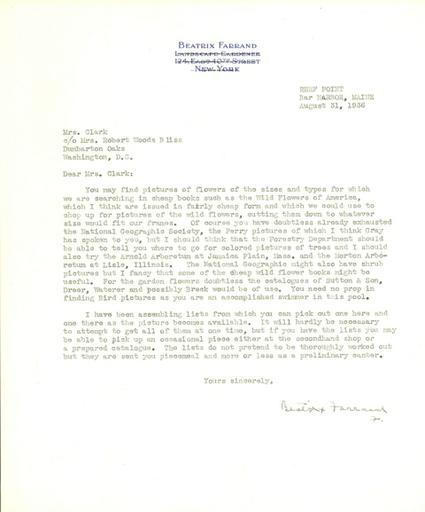 Beatrix Farrand to Ethel Clark, August 31, 1936