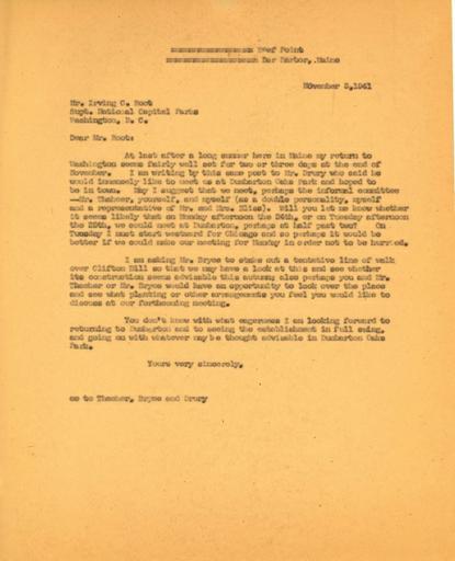 Beatrix Farrand to Irving C. Root, November 3, 1941