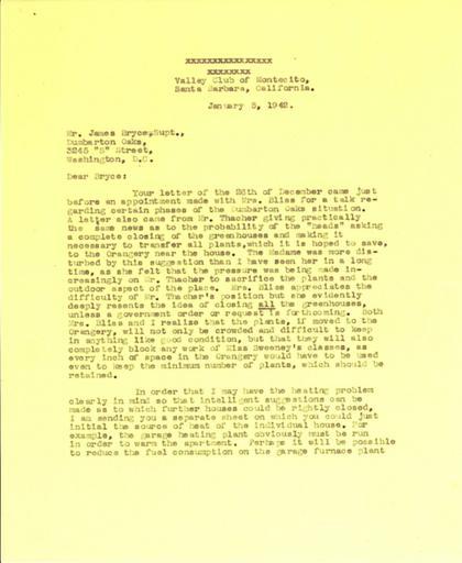 Beatrix Farrand to James Bryce, January 5, 1942