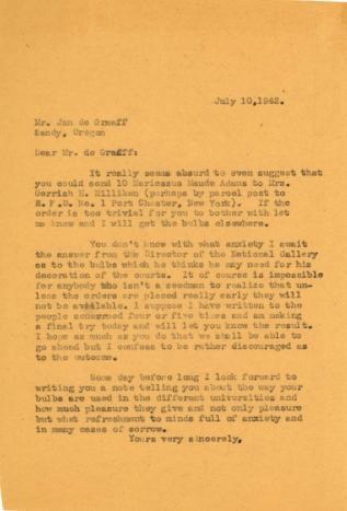 Beatrix Farrand to Jan de Graaff, July 10, 1942