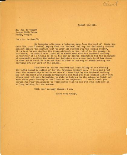 Beatrix Farrand to Jan de Graaff, Oregon Bulb Farms, August 10, 1942