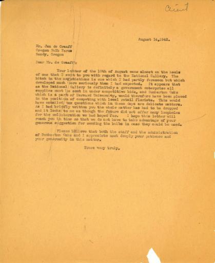 Beatrix Farrand to Jan de Graaff, Oregon Bulb Farms, August 14, 1942