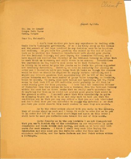 Beatrix Farrand to Jan de Graaff, Oregon Bulb Farms, August 5, 1942