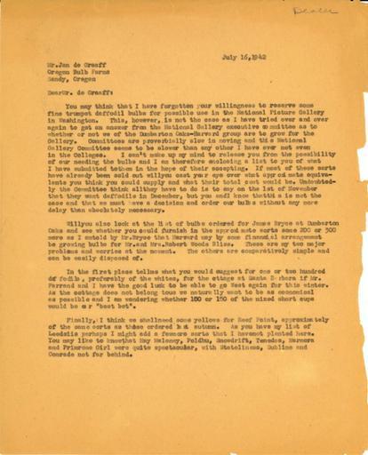 Beatrix Farrand to Jan de Graaff, Oregon Bulb Farms, July 16, 1942