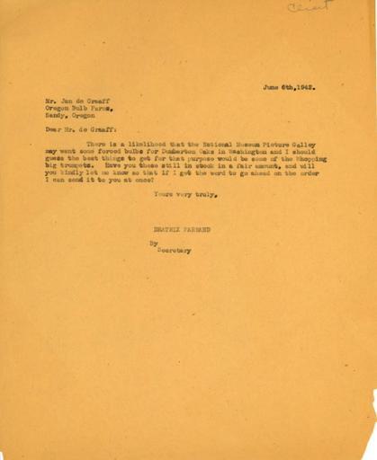 Beatrix Farrand to Jan de Graaff, Oregon Bulb Farms, June 6, 1942