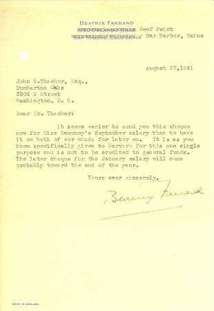 Beatrix Farrand to John Thacher, August 27, 1941