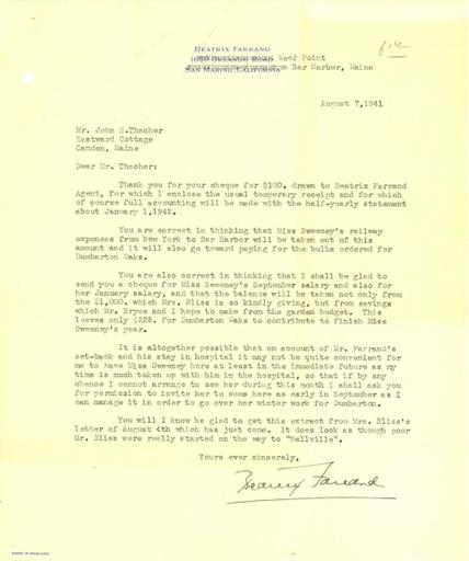 Beatrix Farrand to John Thacher, August 7, 1941