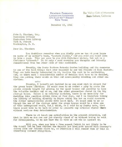 Beatrix Farrand to John Thacher, December 15, 1941
