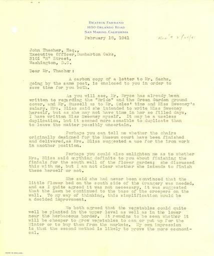 Beatrix Farrand to John Thacher, February 18, 1941