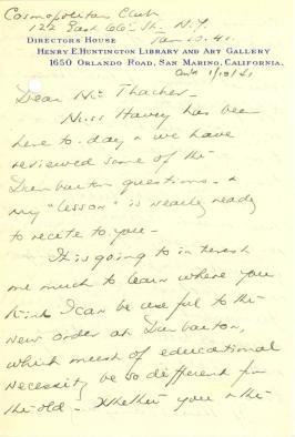 Beatrix Farrand to John Thacher, January 10, 1941