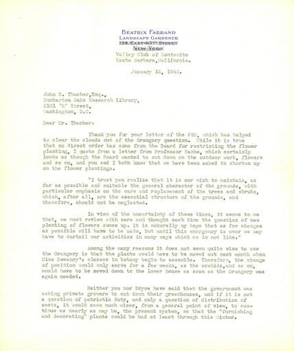 Beatrix Farrand to John Thacher, January 13, 1942