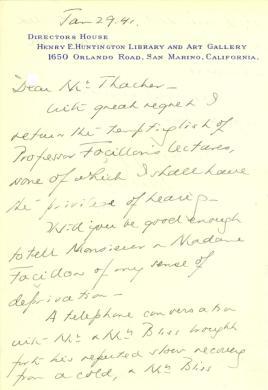 Beatrix Farrand to John Thacher, January 29, 1941