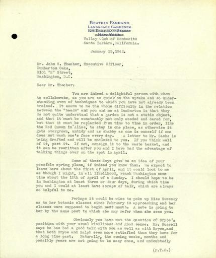Beatrix Farrand to John Thacher, January 29, 1942