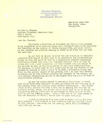Beatrix Farrand to John Thacher, January 3, 1941
