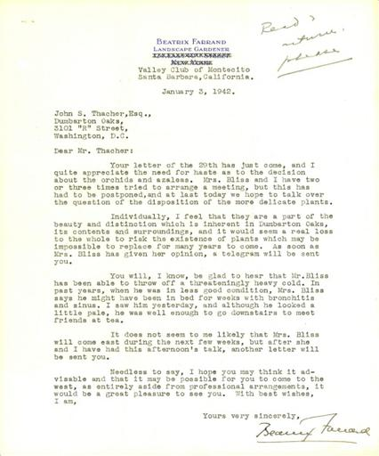 Beatrix Farrand to John Thacher, January 3, 1942