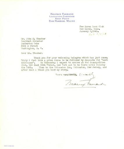 Beatrix Farrand to John Thacher, January 6, 1941