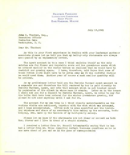 Beatrix Farrand to John Thacher, July 12, 1941
