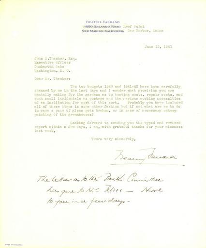 Beatrix Farrand to John Thacher, June 12, 1941
