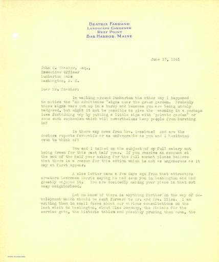 Beatrix Farrand to John Thacher, June 17, 1941
