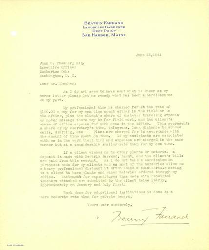 Beatrix Farrand to John Thacher, June 23, 1941 (2)