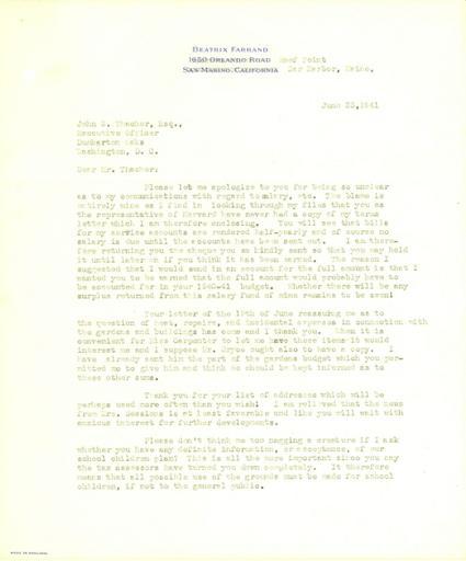 Beatrix Farrand to John Thacher, June 23, 1941 (1)