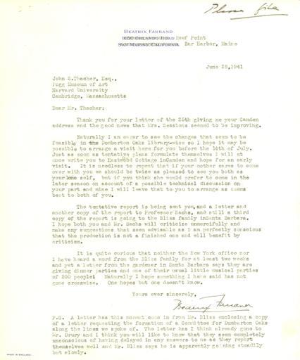 Beatrix Farrand to John Thacher, June 28, 1941